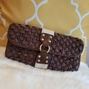 The Limited | Brown Basket Weave Clutch